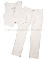 Deux par Deux Boys' Vest and Pants Set Beige Aristo Kids