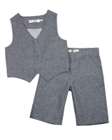 Deux par Deux Boys' Vest and Shorts Set Dark Gray Aristo Kids