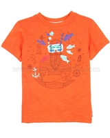 Deux par Deux Orange T-shirt with Print Le Grand Bleu
