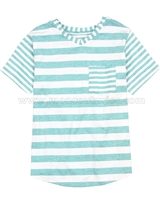Deux par Deux Green Striped T-shirt Surf Away