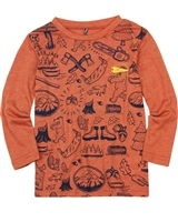Deux par Deux Orange Printed T-shirt Whistle Punk