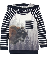 Deux par Deux Hooded T-shirt Hey, Buffalo Hill