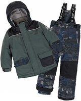 Deux par Deux Boys' 2-Piece Snowsuit Hey Mr Dj Green