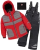 Deux par Deux Boys' 2-Piece Snowsuit Off the Mark Red