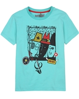 Deux par Deux Printed T-shirt in Aqua Band on the Run