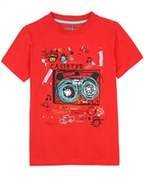 Deux par Deux Printed T-shirt in Red Band on the Run