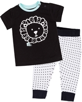 Deux par Deux Black T-shirt and Pants Set Whole Wheat Baby