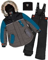 Deux par Deux Boys' 2-Piece Snowsuit Back to Cool Black