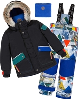 Deux par Deux Boys' 2-Piece Snowsuit Rock the Mountain Print