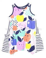 Deux par Deux Printed Jersey Tunic Apples Meet Pears