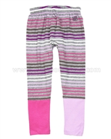 Deux par Deux Striped Leggings Fluffy Friends