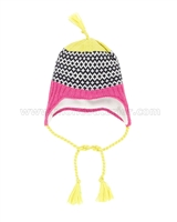 Deux par Deux Ear-flap Hat Neon Pop