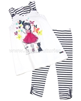 Deux par Deux Tunic with Girl Print and Striped Leggings Set Coup de Foudre