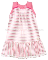 Deux par Deux Striped Dress Rose Bonbon