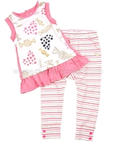 Deux par Tunic and Striped Pants Set Rose Bonbon