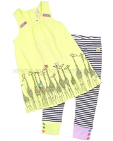 Deux par Deux Tunic with Giraffe Print and Leggings Set Hug a Cactus