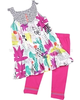 Deux par Deux Printed Tunic and Leggings Set Hug a Cactus