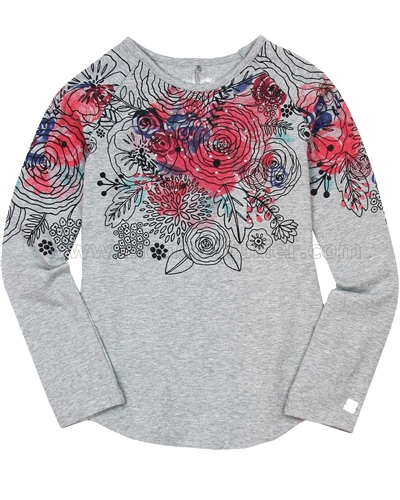 Deux par Deux Gray Top with Floral Print Bohemian Spirit