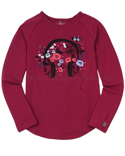Deux par Deux Burgundy Top with Floral Print Bohemian Spirit