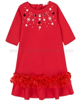 Deux par Deux Red Bejewelled Ponti Dress Chic Choc Fashion