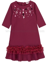 Deux par Deux Burgundy Bejewelled Ponti Dress Chic Choc Fashion