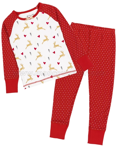 Deux par Deux Red Christmas Pyjamas Set