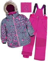 Deux par Deux Girls' 2-Piece Snowsuit Frozen Buds Fushia