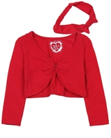 Deux par Deux Cardigan with Headband Red Orchid