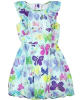 Deux par Deux Aqua Butterfly Print Dress Miss Butterfly
