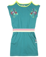 Deux par Deux Green Open Shoulder Dress Flamingo Edit