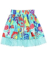 Deux par Deux Printed Skirt Cold Press Fashion