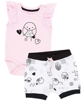 Deux par Deux Onesie and Shorts Set Whole Wheat Baby