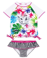Deux par Deux Short Sleeve Rash Guard Swimsuit Playa Del Mar