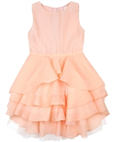 Deux par Deux Peach Flounce Dress Oscar Nights