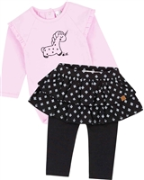 Deux par Deux Baby Girls' Pink Bodysuit and Skirted Leggings Set Unicorns and Dinos