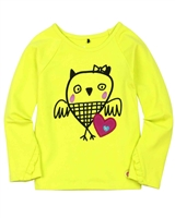 Deux par Deux Yellow Top with Print Owl You Need is Love