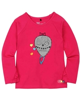 Deux par Deux Fuchsia Top with Print Owl You Need is Love