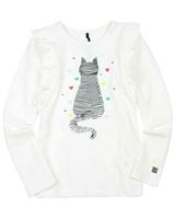 Deux par Deux T-shirt with Print in White A Cat in a Hat