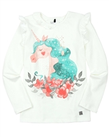 Deux par Deux Frilled T-shirt in White Unicorns are Real