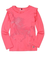 Deux par Deux Frilled T-shirt in Coral Unicorns are Real