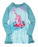 Deux par Deux Knit Tunic with Print Unicorns are Real
