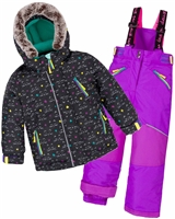 Deux par Deux Girls' 2-Piece Snowsuit Cat Eyes and Pretty Face Purple