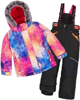 Deux par Deux Girls' 2-Piece Snowsuit Kaleidoscope Unicorn Black