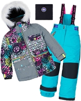 Deux par Deux Girls' 2-Piece Snowsuit Great Escape Peacock