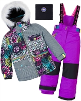 Deux par Deux Girls' 2-Piece Snowsuit Great Escape Purple