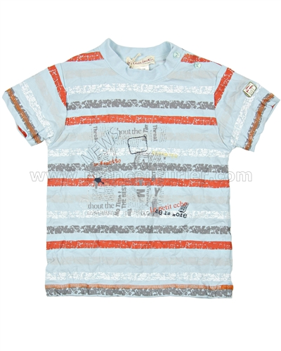 Deux par Deux Boys' Striped T-shirt Scoop