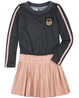 Dress Like Flo Sweatshirt Dress with Pleather Skirt