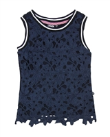 Dress Like Flo Top with Lace Front in Navy