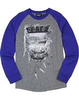 Diesel Boys Raglan Sleeves T-shirt Tapis Gray