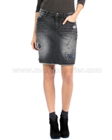 Desigual Women's Denim Skirt Studos Strass